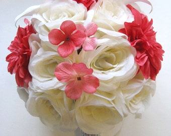"Wedding flowers silk Bridal bouquets RED CORAL STRAWBERRY Punch Calla Lily Cream 17 Piece package bouquet arrangements  ""RosesandDreams"""
