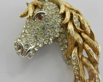 1965s Attwood & Sawyer Gold Plated and silver Swarovski Crystal Horse Head Brooch - highly collectible pin - art.325/4