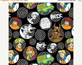Scooby Doo Fabric 23700101-1 Circles Black Velma, Shaggy, Fred, Camelot Fabric, Scooby Doo Quilt