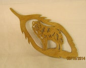 WOLF IN FEATHER Hand Made Scroll Saw Plaque
