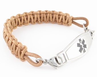 Womans Leather Id Bracelet Medical Id Bracelet Medic Alert