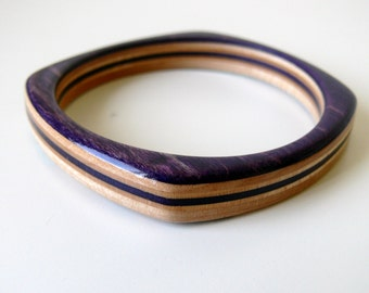 Purple Wooden Square Bangle Recycled Skateboard Bracelet