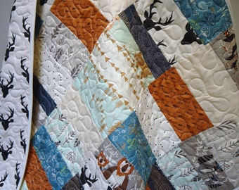 Rustic Crib Bedding-Baby Quilts-Modern Hello Bear Woodland Quilt-Arrows-Buck-Antler-Stag-Deer-Fox-Baby Bedding-Crib Blanket
