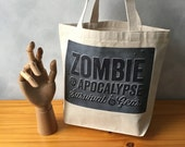 "Zombie Apocalypse Survival Gear -  Natural Essentials Canvas Bag - Steel Gray Image Transfer - Handbag Tote - More info in ""Item Details"""
