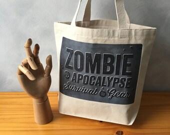 "Zombie Apocalypse Survival Gear -  Natural Essentials Canvas Bag - Steel Gray Image Transfer - Handbag Tote - More info in ""Item Details"""