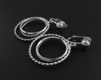 Avon Hoop Earrings, Silver Hoop Earrings, Avon Earrings, Double Hoop Earrings, Silver Earrings