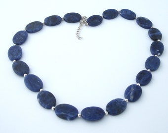 Sodalite Necklace, Blue Necklace, Natural Stone Necklace