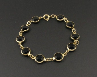 Bezel Set Crystal Bracelet, Black Crystal Bracelet, Black Bracelet, Crystal Link Bracelet