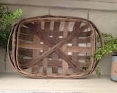 Small Vintage Authentic Tobacco Basket Farmhouse Fixer Upper Room Decor Rustic Primitive Made in North Carolina