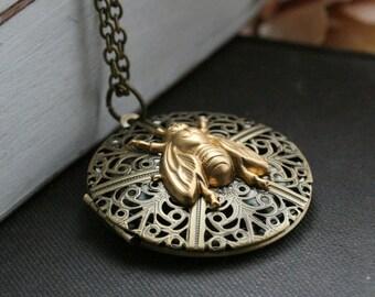 Round locket necklace, photo locket necklace , bee necklace , bee locket necklace, filigree locket , gold locket round - Bumblebee