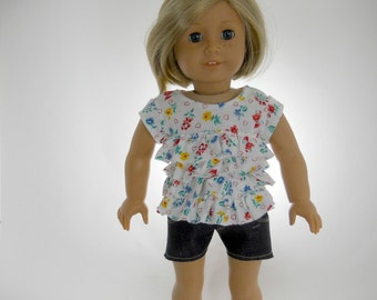 18 inch doll clothes made to fit dolls such as American Girl, Flower Ruffle Top and Cut Off Shorts, 04-1054