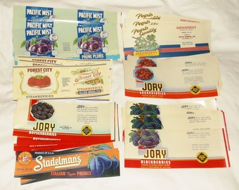 40 Vintage FRUIT Can / Jar Paper LABELS • Unused