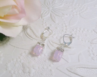 Pink Opal Earrings Swarovski Petite Cube and Rhinestone Squaredells