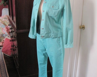 Gap Turquoise Outfit XL Denim Jean Jacket and Size 16 Capris Cotton