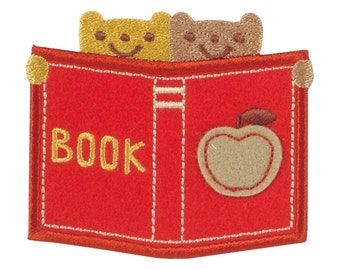 Book & Bear Patch, Cute Animal Embroidered Iron On Patch, Japanese Kawaii Apple Iron on Applique,  Made in Japan, Embroidery Applique, W062