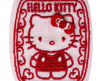 Hello Kitty Patch, Kawaii Sanrio Embroidered Iron On Patch, Japanese Cute Red Iron on Applique, Made Japan, Embroidery Applique, W201