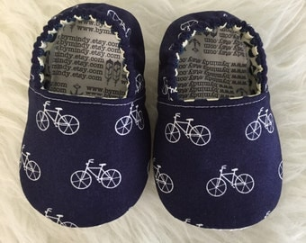 Soft Sole Baby Shoes White Bicycles on Navy Baby Bootie - Elastic Back - Made to Order