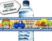 10 Waterproof Peel & Stick Water Bottle Labels, Pickup Truck, Little Farm Animals, Birthday Party, Blue Gingham Check