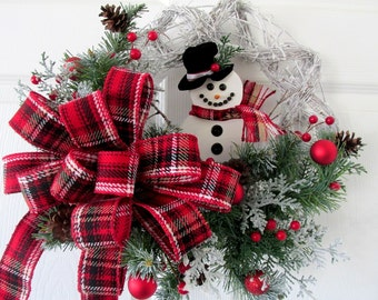 Christmas Wreath Snowman / Holiday Wreath Snowman / Red Plaid Snowman Wreath / Door Wreath Snowman / Christmas Home Decor