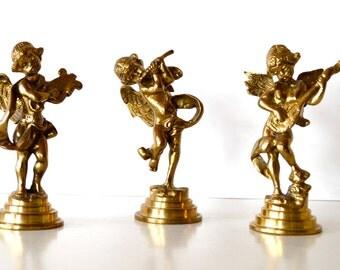 Vintage Brass Angels Cherubs with Instruments Figurines Set of 3