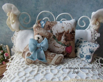 Dollhouse roombox Miniature Teddy Bear Lamb nursery pillow set