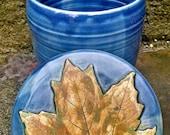 Fermentation Crock, Fermenting Crock, Sourdough Starter, Coffee Jar, Covered Jar, Maple Leaf - Made To Order