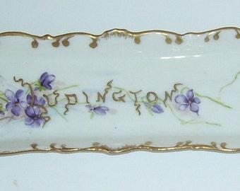 Jean Pouyat Limoges France  Vanity Tray, Gold Trim Dated 1896 Lizzie Kiesewalter, Ludington, Porcelain French Side Serving Dish,