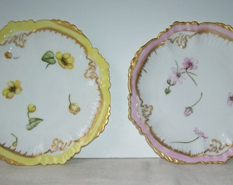 2 Hand Painted Limoge France Plates, Signed L. Keiswalter 1892 and 1893, (Lizzie Keiswalter) Porcelain Plates, Gold Trim Floral Design