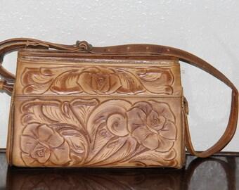 1960s Vintage Purse - Brown Tooled Leather Mexico Handbag
