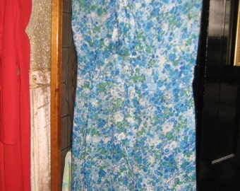 40's Vintage Blue Print Voile Dress