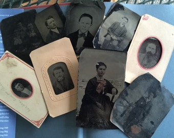 Group of 9 Antique Tin Type Photograph Picture Photos