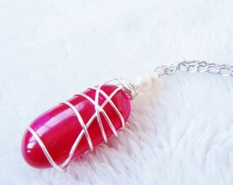 Fun Glass Jelly Bean shaped Wire Wrapped Necklace in Bright Pink by Jessentials