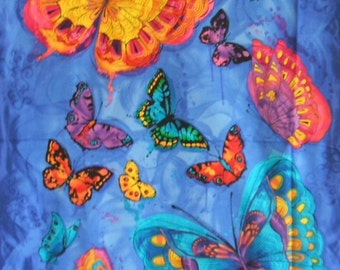 Monterrey Painted Bright Bold ButterflyTimeless Treasures Fabric Blue Panel
