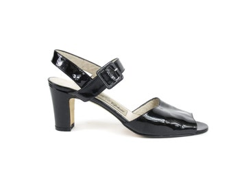 Black Ankle Strap Heels Minimalist Heeled Sandals Patent Leather Strappy Sandals 1980s Shiny Black Leather Heels Buckled Dancing Heels 8.5 N