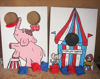 New 2  games  tent   and    pink  elephant   circus  games with   8 bean bags