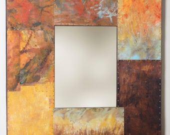 41 x 37 Fall Landscape Metal and Copper Mirror