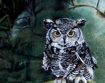 Watcher In The Woods Owl - owl art, owl decor, owl card, owl print, bird, wildlife art, nature,