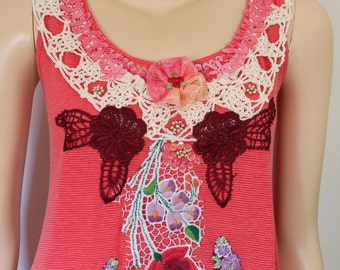 Red Boho Chic  Shabby Chic Romantic Flared Reworked Tunic  Dress - Beaded - embroidered - Textile Collage - Wearable Art - Size S - M