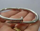1 Nail bangle bracelet open cuff 19.5cm silver tone NB19