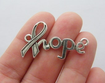 6 Hope ribbon connector charms antique silver tone M748