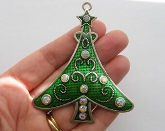 1 Christmas tree pendant 79 x 66mm tibetan silver - milky clear