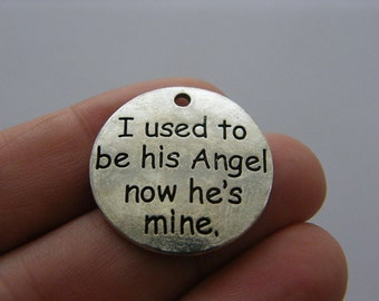 2 I used to be his Angel now he's mine charms antique silver tone M659