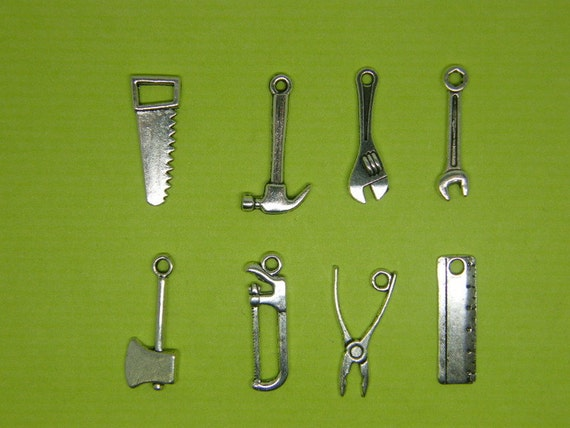 The Tool Charm Collection -8 different antique silver tone charms