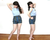 ON SALE 1950s Shorts / 50s Hot Pants / 1950s Blue Plaid High Waisted Shorts
