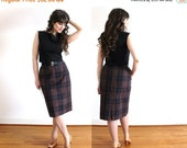 ON SALE 1950s Skirt / 50s Brown and Black Cotton Belted Plaid Pencil Skirt