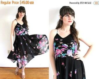ON SALE 70s Dress / 1970s Boho Dress / 70s Sheer Black Dark Floral Handkerchief Dress
