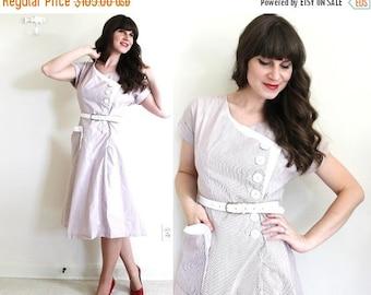 ON SALE 1940s Dress / 40s Dress / 1940s Asymmetrical Striped Day Dress