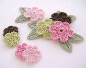 8 Pink Boutique Mix Crochet 6-Petal Flower Embellishments w/ Leaves Handmade Scrapbook Fashion Accessories Applique - 16 pcs. (410-2)