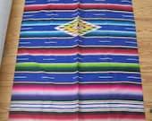 Vintage 50s Mexican Saltillo Serape Stunning Blue