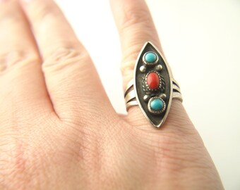 Turquoise and Coral Ring - Native American - Sterling Silver - Vintage